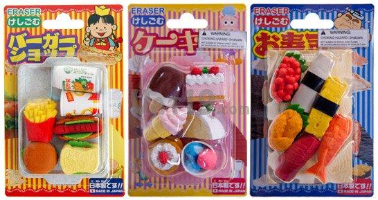 Borrachas em formato de comida Japão