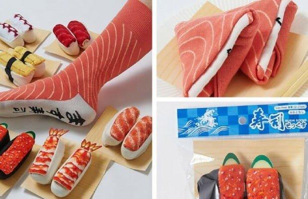 meia em formato de sushi