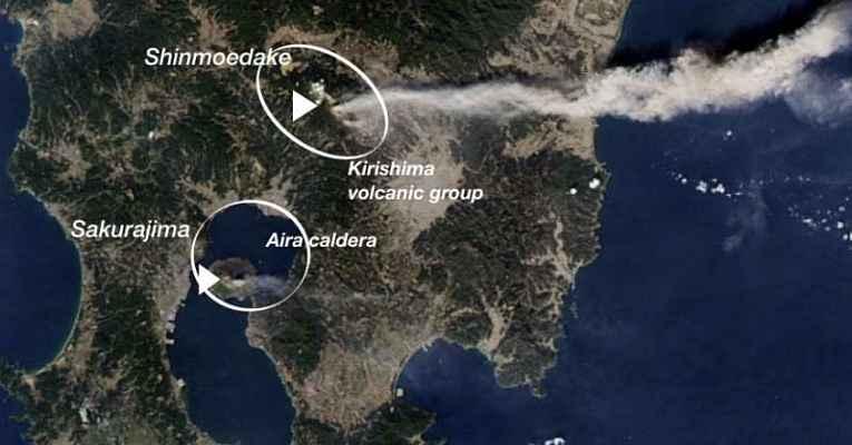 Mapa ligando os vulcões no Japão
