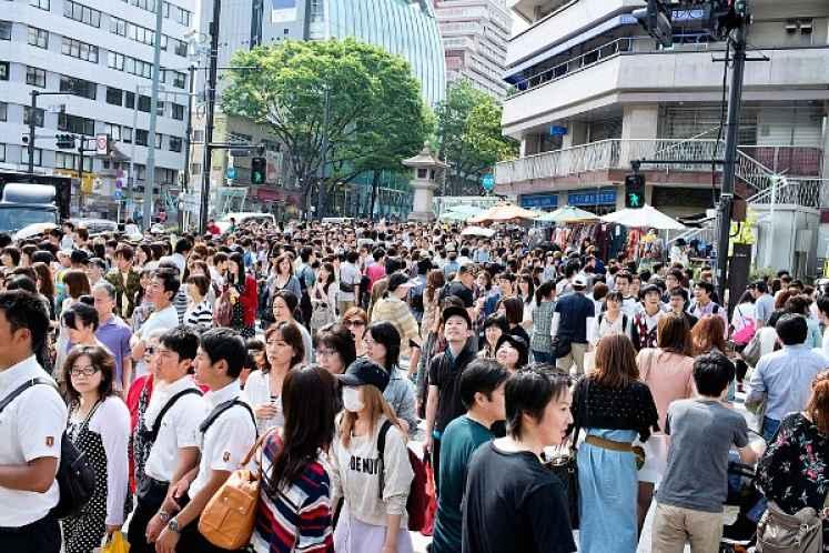 Lotação no Japão durante o feriado