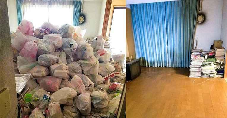 Casa cheia de lixo e depois de limpa