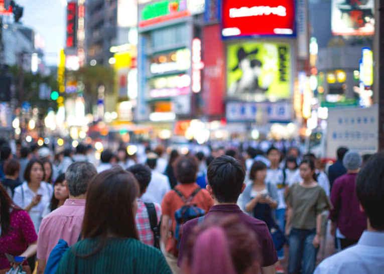Pessoas na rua do Japão