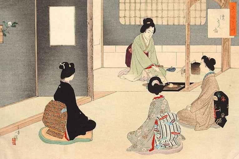 Ilustração da cerimônia do chá