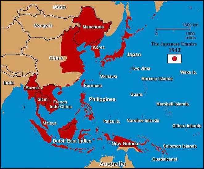 Mapa do Império japonês antes da guerra