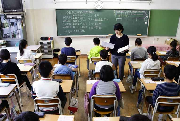 Sala de aula e professora