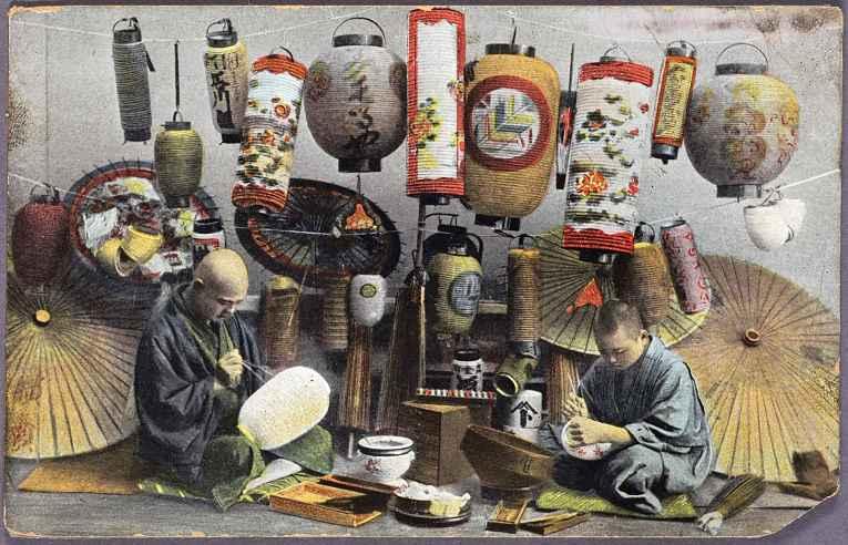 Pintura de dois artesãos fazendo chochin
