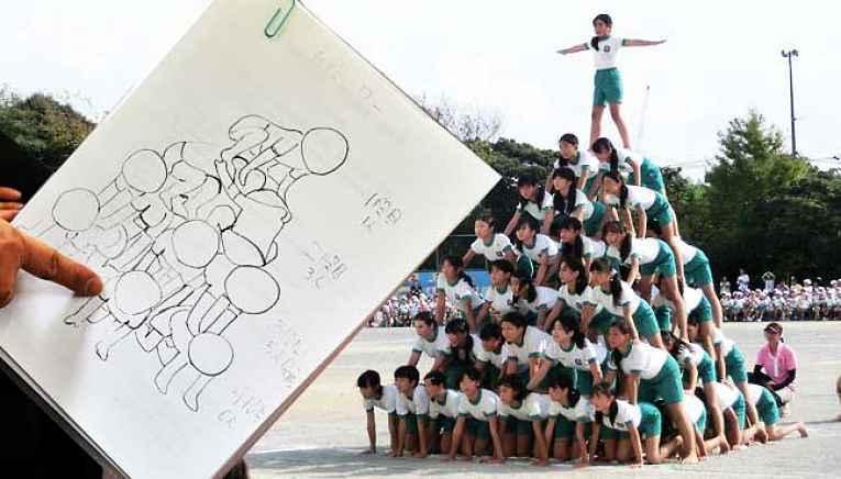 Estudantes fazendo pirâmide humana