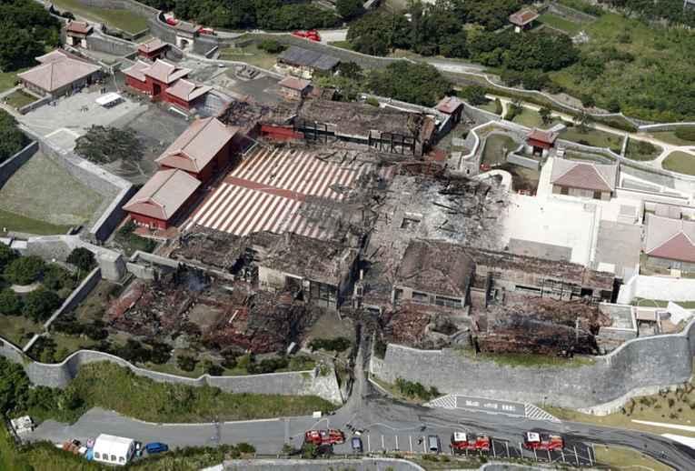 Castelo após o incêndio em vista aérea