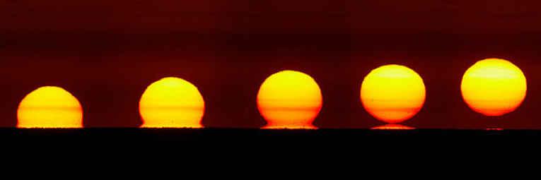 Estágios do nascer do sol ômega