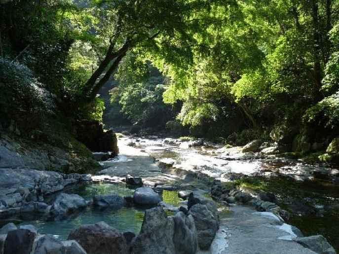 Rio e fonte de água termal