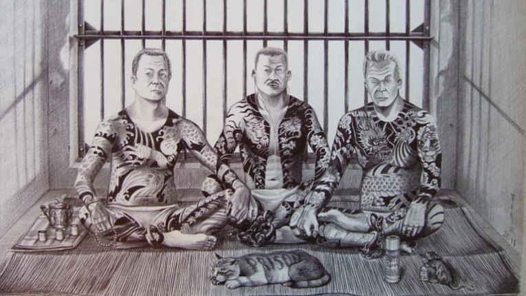Desenho de membros da Yakuza em cela de prisão
