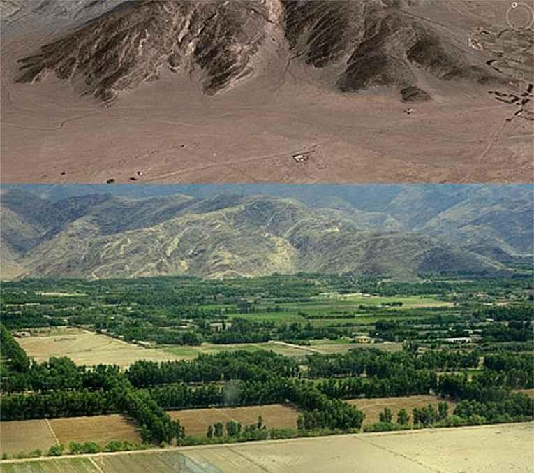 foto de região seca e depois com vegetação